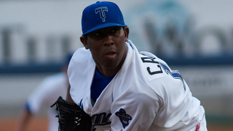 Edwar Cabrera has struck out 95 batters across two Minor League levels.